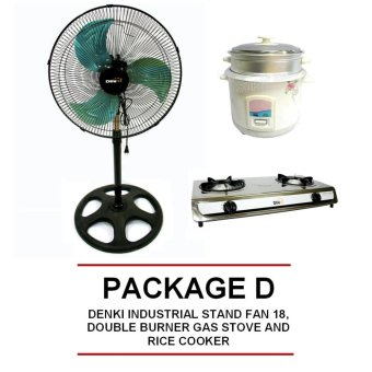 "DENKI INDUSTRIAL STAND FAN 18"", DOUBLE BURNER GAS STOVE AND RICECOOKER Price Philippines"