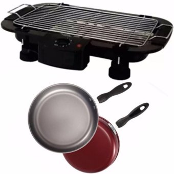 Electric Barbecue Grill Outdoor BBQ (Black) With Fry Pan 26cm Non-Stick with Handle (Red)