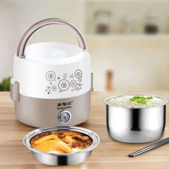 Electric lunch box heating two - layer hot lunch box insulation mini double automatic steaming riceware - intl