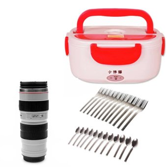 Electric Lunch Box (Red) with 24-piece Stainless Spoon and Fork and Canon Series Lens Thermos Cup