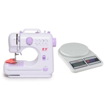 Empire Lil Sew and Sew 8 Stitch Sewing Machine (White/Violet) with Digital 5KG/1G LCD Electronic Kitchen Weighing Scale