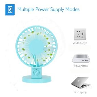 EsoGoal USB Desk Mini Fan, Quiet Table Fan 2 Speed Modes Dual Blades for Home Room Office Table,Blue - intl - 3