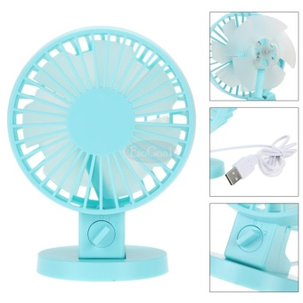 EsoGoal USB Desk Mini Fan, Quiet Table Fan 2 Speed Modes Dual Blades for Home Room Office Table,Blue - intl - 5