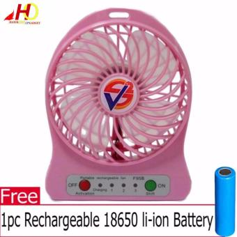 F95B Portable Mini USB Fan Rechargeable Battery Operated / LED Lamp for Indoor/Outdoor/ Kids Table Mini Fan (Pink) with FREE 1pc Rechargeable 18650 li-ion Battery