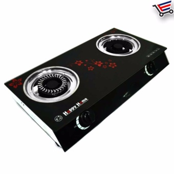 Floral Glass Top Happy Home - 2 Burner Gas Stove