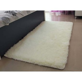 Fluffy Anti-skid Shaggy Area Rug Home Bedroom Floor Mat(Mile white)) - intl - picture 2
