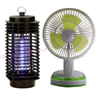 G@Best JY SUPER 5590 Powerful Rechargeable Fan (Green) withElectric Mosquito Fly Bug Insect Zapper Killer With Trap Lamp 220VBlack New (Black)