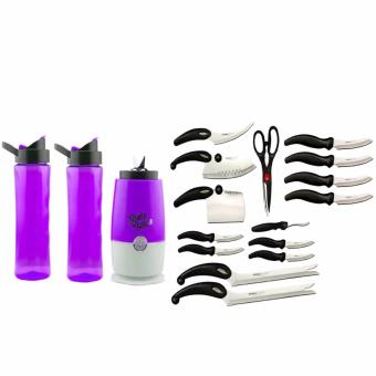 GMY Shake N Take 3 Blender/Tumbler 16oz (Purple) with Complete13-Piece Knife Set