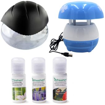 Good Air Refreshen Air Purifier (Black) with E8 Mini USB MushroomShaped LED Photocatalyst Mosquito Killer & Lamp (Blue) andHumidifier Scent Starter Kits Aroma Series Set (White)
