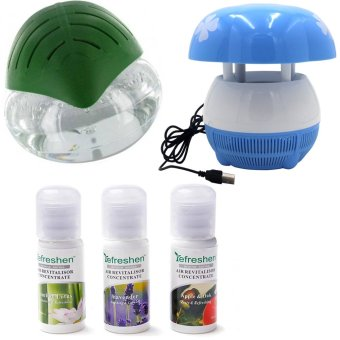 H2O+ Air Purifier Humidifier and Revitalizer (Green) with E8 MiniUSB Mushroom Shaped LED Photocatalyst Mosquito Killer & Lamp(Blue) and Humidifier Scent Starter Kits Aroma Series Set (White)