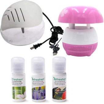 H2O+ Air Purifier Humidifier and Revitalizer (White) with E8 MiniUSB Mushroom Shaped LED Photocatalyst Mosquito Killer & Lamp(Pink) and Humidifier Scent Starter Kits Aroma Series Set (White)