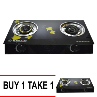 Happy Home Glass Top 2 Burner Gas Stove (Black) Buy 1 Take 1