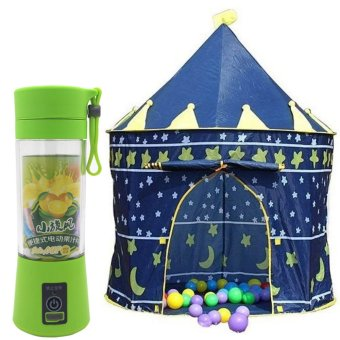 HM-03 Portable and Rechargeable Battery Juice Blender 380ml (YellowGree) With Kiddie Castle Tent (Blue)