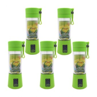 HM-03 Portable and Rechargeable Battery Juice Blender 380ml (YellowGreen) Set of 5
