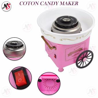 Household automatic cotton candy maker electric colorful hard candy fancy DIY mini commercial cotton candy machine (Pink)
