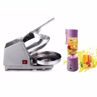 Ice Crusher Electric Machine With Rechargeable USB Electric Fruitand Vegetable Blender Cup Juicer Extractor 380mL (Purple)