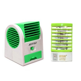 Harga GMY MINI20 USB Electric Mini Air Cooler (Green) with Dinwang 388/DW-777 Electron Go Out Mosquito Mini Night Lamp (Yellow Green)