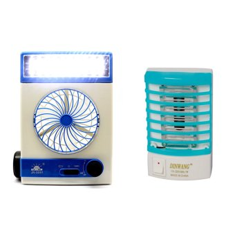 Harga GMY 3 in 1 Rechargeable Solar Light Fan (Blue) with Dinwang 388/DW-777 Electron Go Out Mosquito Mini Night Lamp (Blue)