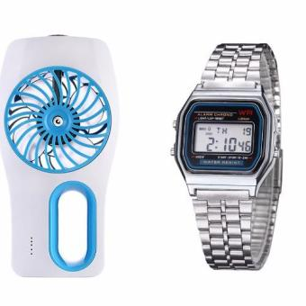 Harga USB Mini Mist Spray Humidifier & Air Conditioning Cooling Fan(Blue) with Landfox Women's Stainless Steel Strap Watch(Multicolor)