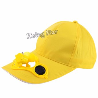 Harga Rising Star With Switch Solar Fan Hat Cooling Fan Summer (Yellow)