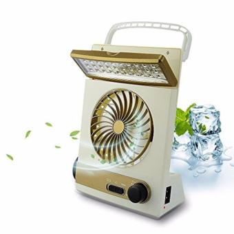 J&J 3 in 1 Multi-function Portable Mini Fan LED Table Lamp Flashlight Solar Light for Home Outdoor Camping (Gold/White)