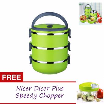 J&J 3 Layers Stainless Steel Lunch Box Thermal Insulated Handlewith FREE Nicer Dicer Plus Speedy Chopper