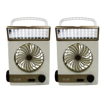 J&J High Quality Rechargeable 3 in 1 Solar Light Fan Set of 2 (Gold/White)