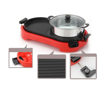 J&J Multi-function Electric Hotplate Grill (Red) - 3