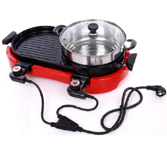 J&J Multi-function Electric Hotplate Grill (Red)
