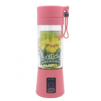J&J Rechargeable USB Electric Fruit and Vegetable Blender CupJuicer Extractor 380mL (Pink)