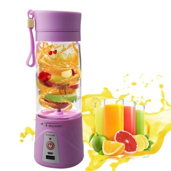 J&J Rechargeable USB Electric Fruit and Vegetable Blender CupJuicer Extractor 380mL (Purple)