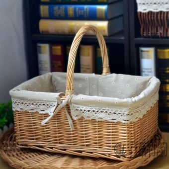 Jiangnanzhuyun outdoor rattan wicker travel picnic basket storage basket