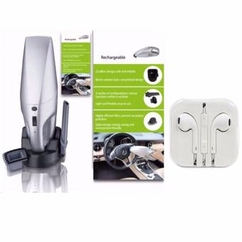 JK-008 Rechargeable Car Vacuum Cleaner (Silver) with Headset White