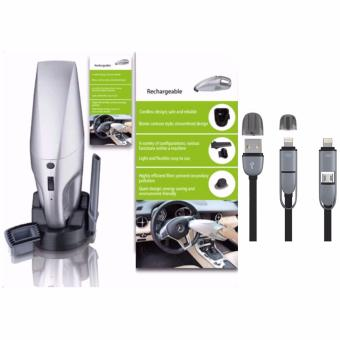 JK-008 Rechargeable Car Vacuum Cleaner (Silver)with USB CORD ColorMay Vary