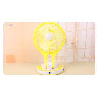 JR-5580 Portable Rechargeable LED Light with Mini Fan (Yellow)