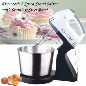 KV-1188 7-Speed Stand Mixer with Stainless Bowl (Black/White)
