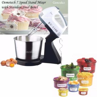 KV-1188 7-Speed Stand Mixer with Stainless Bowl (Black/White) with 7 Pcs/set Perfect Portions Portable Lunch Box Kitchen Dining