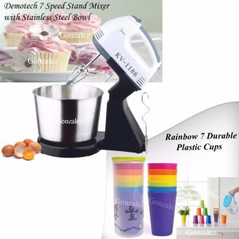 KV-1188 7-Speed Stand Mixer with Stainless Bowl (Black/White) with Rainbow Outdoor 7 Durable Plastic Cups