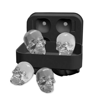 leegoal 3D Skull Flexible Silicone Ice Cube Mold Tray, Makes FourGiant Skulls, Round Ice Cube Maker, Black - intl