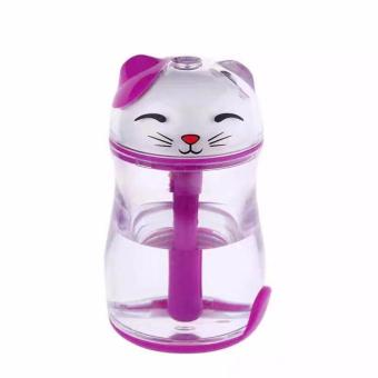Lucky Cat Shape Mini Air Humidifier Desktop USB Oil Essential Aroma Diffuser Mist Maker Fogger with Multi Colors Night Light (Purple)