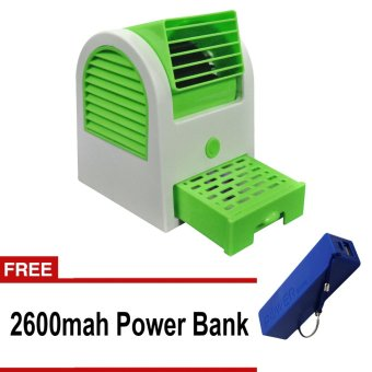 Mini Fan Air Cooler (Green) with Free A5 2600 mAh Power Bank (Blue)