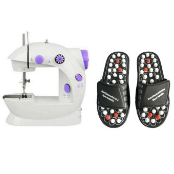 Mini Sewing Machine (White) with Acupuncture Foot Reflex MassageMedium Slippers (Black) Bundle