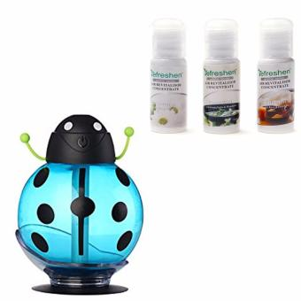 Mini USB Beatles Shape Humidifier For Home Office And Car (Blue)with Humidifier Scent Starter Kits Spa Series Set (White)