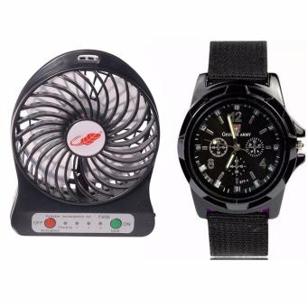Mini USB Rechargeable Portable Cooling Table Fan (Black) withGEMIUS ARMY Military Sport Style Army Men's Black Canvas StrapWatch