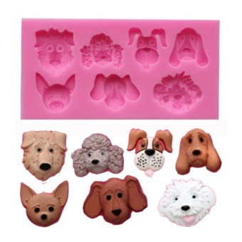 Moonar Cute 3D dog shaped silicone fondant cake chocolate cookiesbaking mold pink - intl Price Philippines