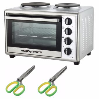 Morphy Richards Convection Rotisserie Mini Oven 28L (StainlessSteel) with Keimav Multipurpose Kitchen Shear with 5 Blades HerbsCutter (Green) Set of 2