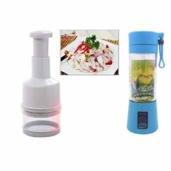 Multi-function 380ML Mini Juice Extractor Portable Electric Fruit Juicer Vegetable Citrus Blender Ice Crusher + Power Bank Outdoor Travel (Blue) with Kitchen Pressing Food Chopper Cutter Slicer Peeler Dicer Vegetable Onion Garlic (White)