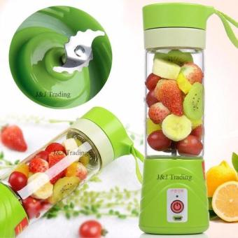 Multi-function 380ML Mini Juice Extractor Portable Electric Fruit Juicer Vegetable Citrus Blender Ice Crusher + Power Bank Outdoor Travel (Green)