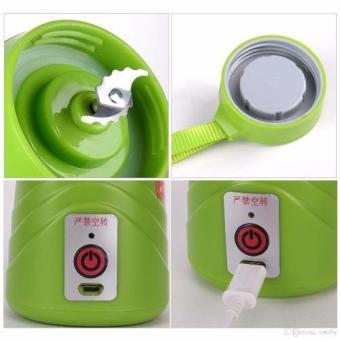 Multi-function 380ML Mini Juice Extractor Portable Electric Fruit Juicer Vegetable Citrus Blender Ice Crusher + Power Bank Outdoor Travel (Green) - 2