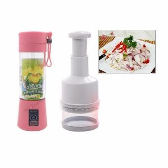 Multi-function 380ML Mini Juice Extractor Portable Electric FruitJuicer Vegetable Citrus Blender Ice Crusher + Power Bank OutdoorTravel (Pink) with Kitchen Pressing Food Chopper Cutter SlicerPeeler Dicer Vegetable Onion Garlic (White)